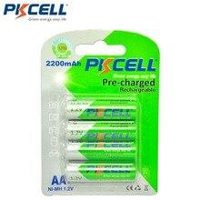 4 шт./карта PKCELL AA Аккумуляторная батарея Ni MH 1,2 V 2200mAh Низкая саморазряд прочные NIMH 2A AA батареи для фонарика игрушки