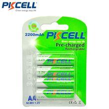 4 шт/карта pkcell aa Аккумуляторная батарея ni mh 12 v 2200mah