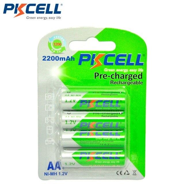 4 قطعة/بطاقة PKCELL AA بطارية قابلة للشحن ni mh 1.2 فولت 2200mAh منخفضة التفريغ الذاتي دائم NIMH 2A AA بطاريات للعب مصباح يدوي
