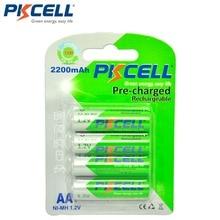 4個/カードpkcell aa充電式バッテリーニッケル水素1.2v 2200 6000mah低自己放電耐久ニッケル水素2A単三電池懐中電灯おもちゃ