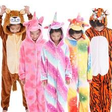 New Kids Animal Pajamas Boys Girls Unicorn Tiger Pegasus Cosplay Winter Hooded Children Sleepwear Onesie Flannel Pyjamas