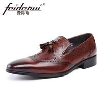 Vintage Genuine Leather Alligator Pattern Mens Loafers Italian Pointed Toe Slip On Handmade Man Formal Dress
