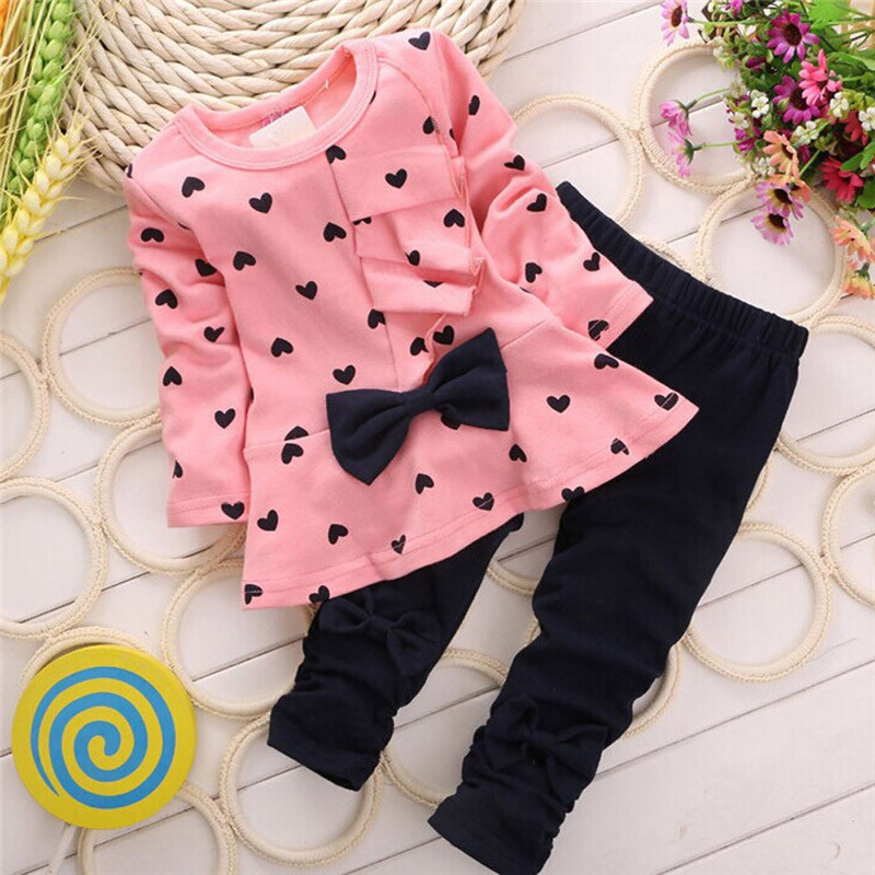 New Baby Clothes Sets Love bow girl Clothes set Heart-Shaped Print Bow Cute Kids Set T Shirt + Pants Clothes For Girl