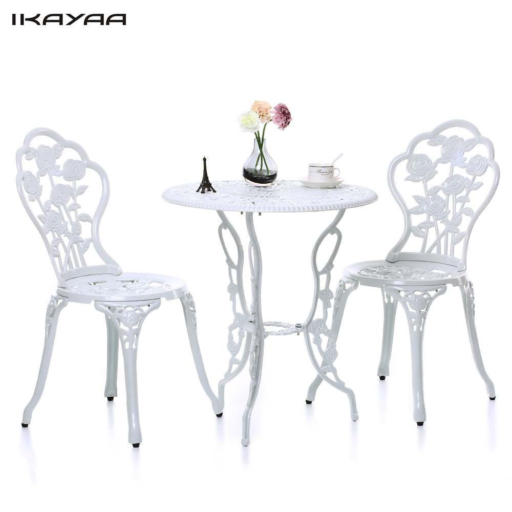IKayaa 3PCS FR US UK DE Stock Modern Outdoor Patio Garden Set Furniture  Rose Design Iron