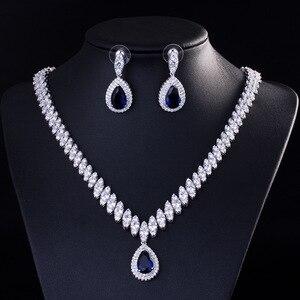 Image 3 - Высокое качество кубического циркония свадебное ожерелье и серьги Роскошный Кристалл Свадебные Ювелирные наборы для подружек невесты