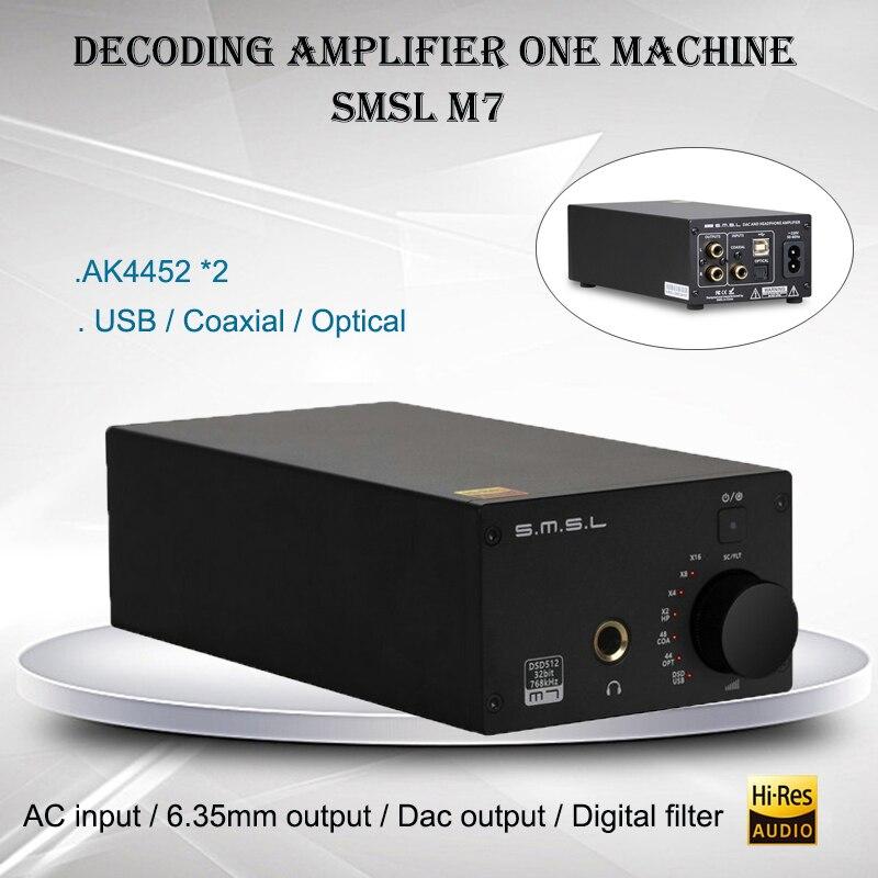 SMSL M7 Audio Casque Amplificateur AK4452 USB DAC Amplificador DSD512 XMOS LM4562 Hifi Puissance Amp Portable Décodeur 32bit