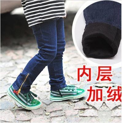 Venda quente do inverno do bebê 2-6yrs meninas Adicionar lã calças de brim grosso crianças quentes jeanskids calças Frete grátis