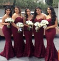 2017 Burgundy Mermaid Bridesmaid Dresses Long Sweetheart Cheap Lace Wedding Party Gowns Appliques Maid of honor Dress