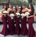 2017 borgoña sirena dama de honor vestidos de novia largo baratos vestidos de fiesta apliques de encaje de la boda vestido de dama de honor