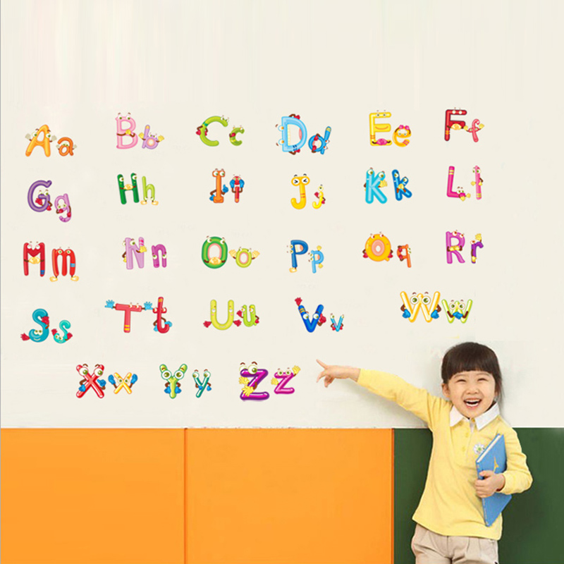 2015 colorful vinyl letters alphabet wall stickers for babychina mainland