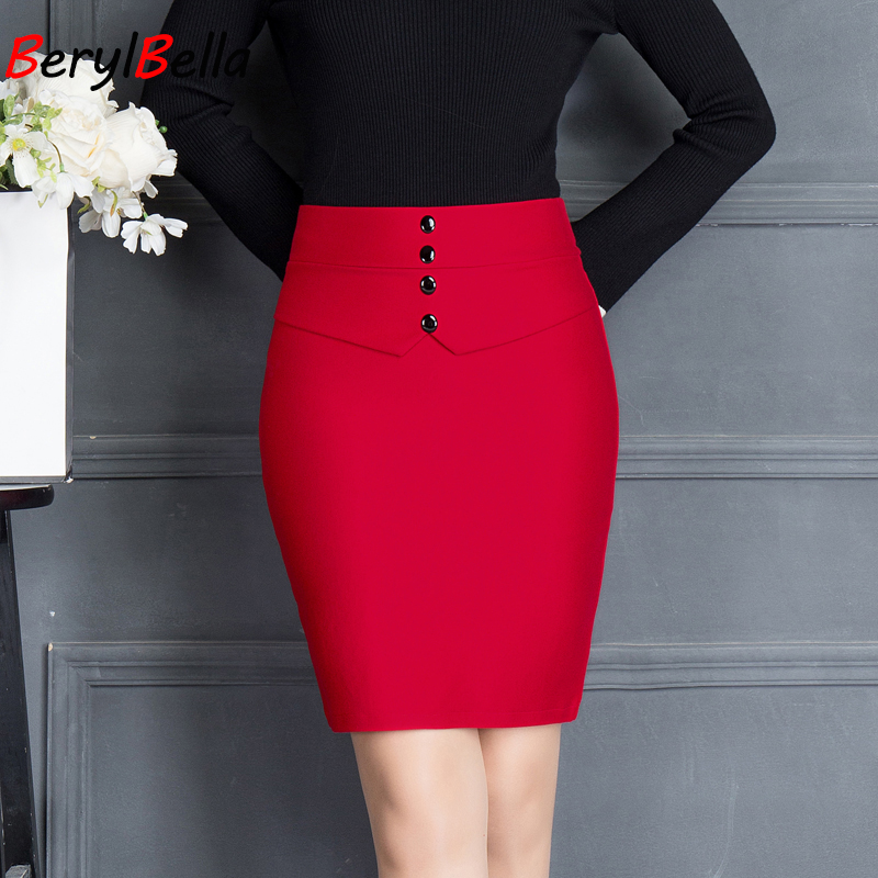 Hot Ladies Formal OL Styles Professional Skirts Slim Hips Elegant Black&Red For Women Solid Color Business Shorts Skirt Elegant