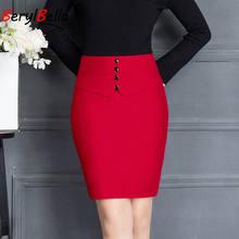 Hot Ladies Formal OL Styles Professional Skirts Slim Hips Elegant Black&Red For Women Solid Color Business Shorts Skirt