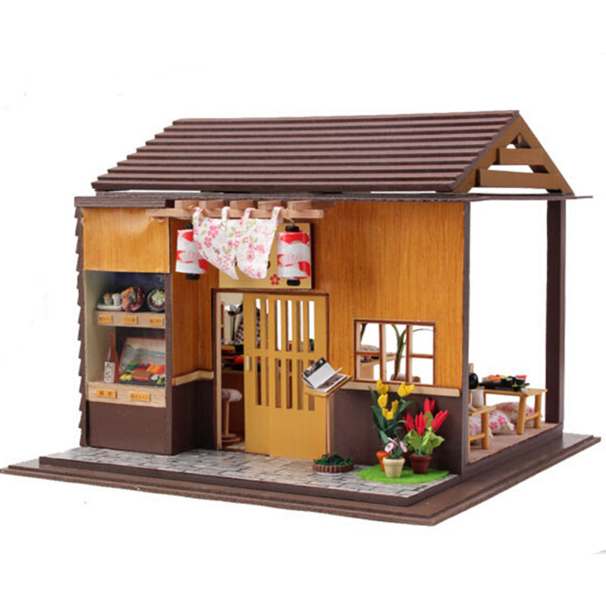Japanese Zakka Style Sakura Sushi Bar Dollhouse with Furniture, Novelty DIY Wooden Doll House Assembling Toy Free Shipping sushi mold diy