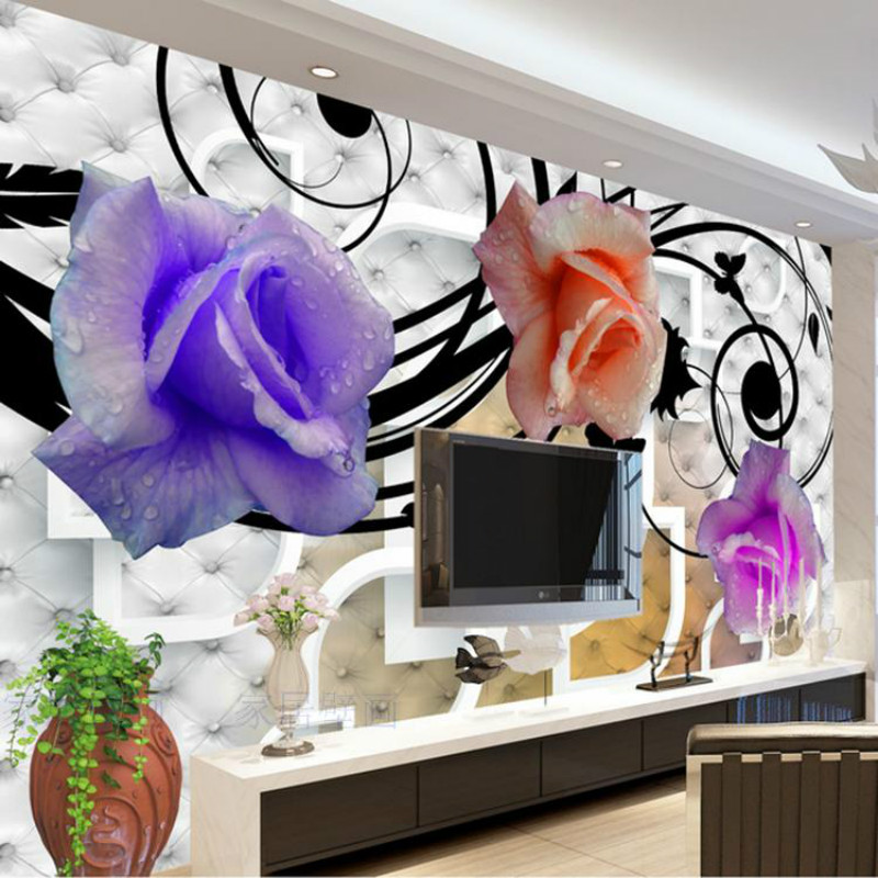 Custom Modern minimalist bedroom living room TV sofa backdrop wallpaper mural wallpaper 3d stereoscopic television Romantic Rose free shipping 3d personality wallpaper sofa tv coffee house bar backdrop living room bedroom bathrom wallpaper mural