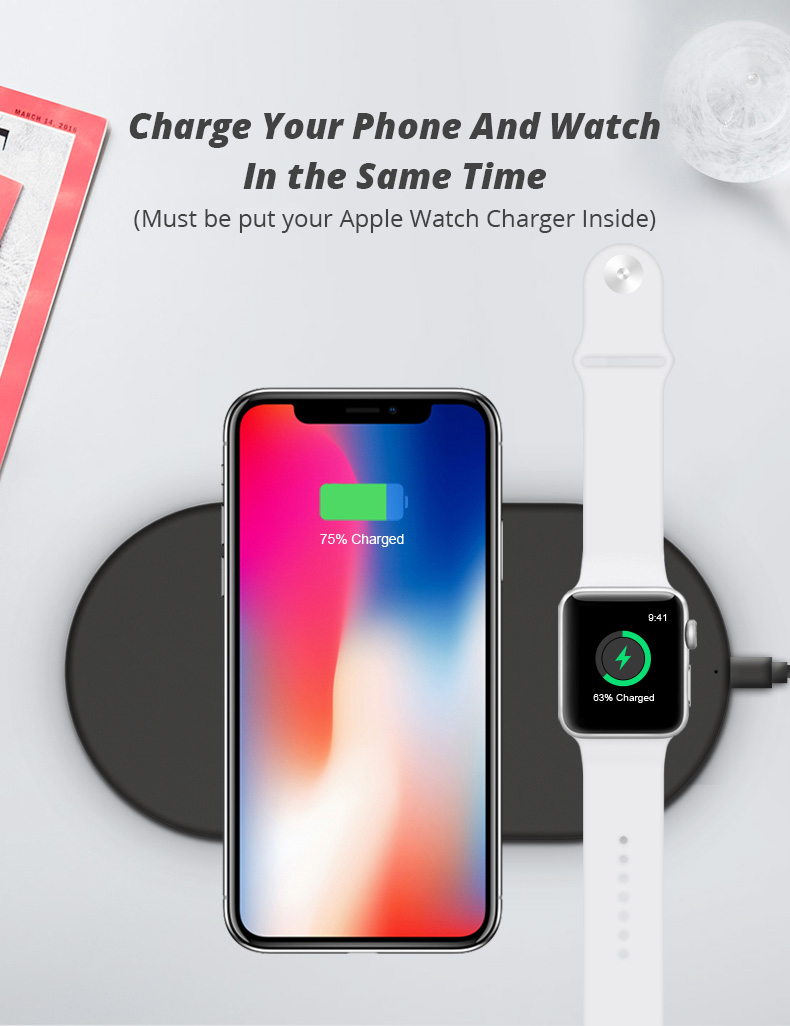 2 in 1 Wireless Charge Pad For Iphone X Iphone 8 Samsung S9 Samsung S8 DIY Disassemble Apple Watch wireless Charge Pads (2)