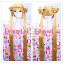 Free Shipping 130CM Super Long Blonde Synthetic Hair Anime Sailor Moon Cosplay Wig Tsukino Usagi Wig with Ponytail