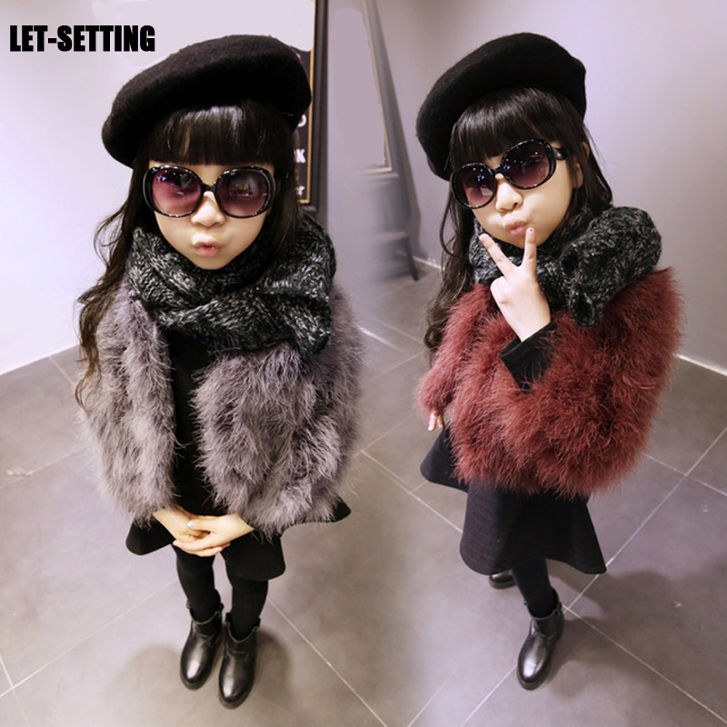 LET-SETTING 2017 New Winter Warm Solid Fur Coat Long Sleeve Natural Ostrich Girls Outerwear Kids Jacket