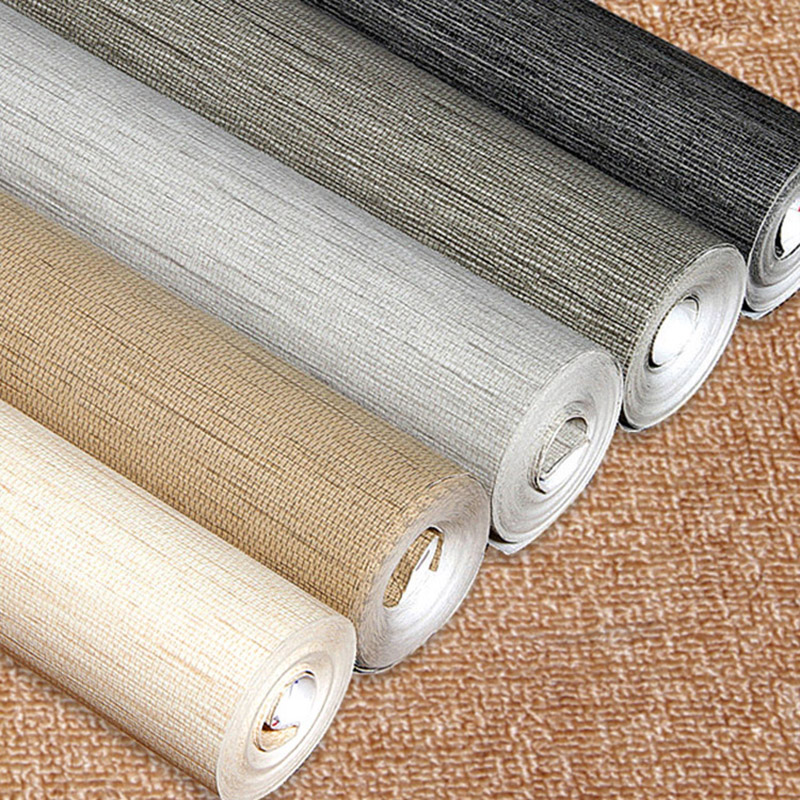 Solid Color Flax Straw Wallpaper Dark Grey Modern Living Room Bedroom TV Background Wall Home Decor Non-woven Wall Paper Rolls