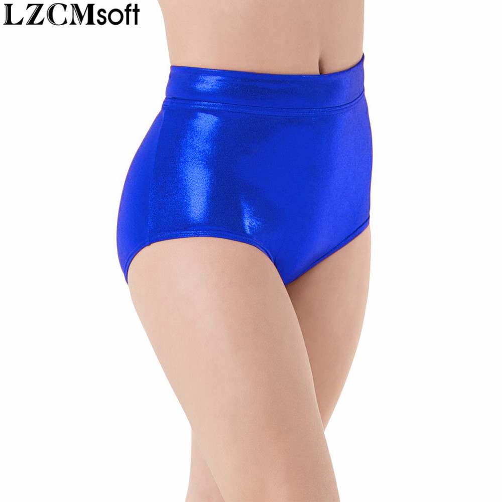 LZCMsoft Women Mid Waist Metallic   Shorts   For Adults Ballet Performance Dance Bottoms Basic Booty   Shorts   Fitness Underpants Girls