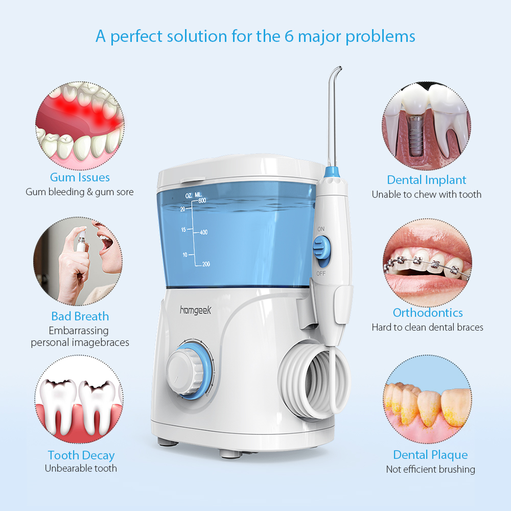Image 4 - Homgeek Water Flosser irrigador dental Oral Irrigator Teeth Cleaner Pick Spa Tooth Care Clean With 7 Tips For Family-in Oral Irrigators from Home Appliances