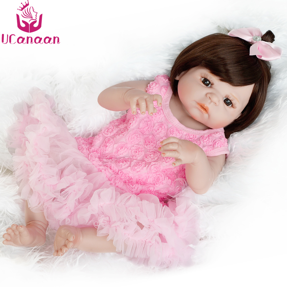 UCanaan 55CM Silicone Doll Reborn Baby Alive Toys For Children Kawaii Brown Eyes Long Hair Girls Dolls Brinquedos Baby Born Gift ucanaan 1 3 bjd doll reborn girls dolls 19 jointed body chinese style maxi long dress wig makeup dressup diy sd kids toys