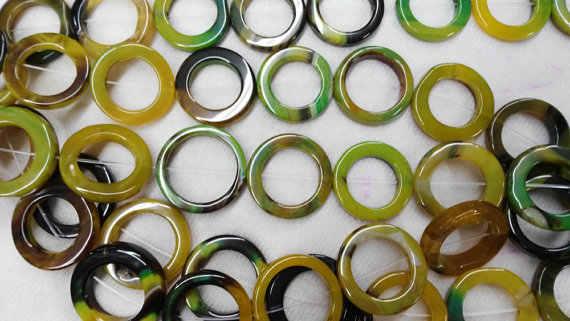 Alta qualidade 30mm 50mm completa strand natural ágata onyx rodada oval loop círculos Rosquinha pedra verde amarelo vermelho branco preto mix talão