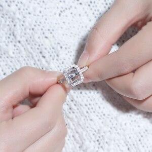 Image 3 - Transgems 14K białe złoto Halo pierścień typu Semi Mount bez 7*9mm szmaragd kamień, ale z Moissanite akcenty dostosowane pierścień
