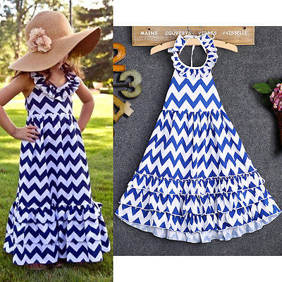 2016  Baby Girls Summer Dress Kids Wave Stripe Boho Maxi Long Sundress Party Dress
