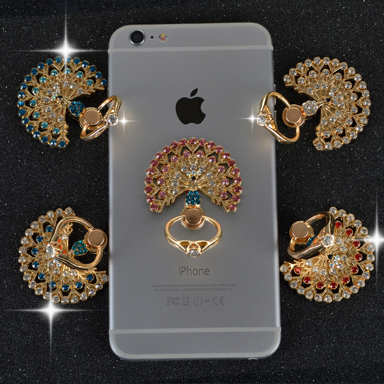 Available new 360 mobile phone ring bracket peacock with diamond ring ring bracket universal bracket wholesale factory