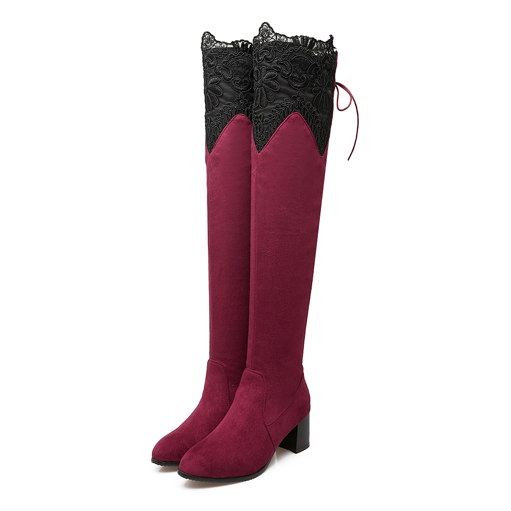 Brand New Sexy Lace Women Thigh High Riding Boots Black Red Blue Lady Over the Knee Shoe Chunky Heel ET07 Plus Big size 32 46 10 women over the knee boots black velvet long boots ladies high heel boots sexy winter shoes chunky heel thigh high boots