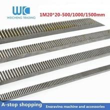 1pcs 1Mod 1 Modulus High Precision spur Gear Rack steel 20*20 length 500mm 1000mm 1500mm pinion cnc straight rack mod1 rack