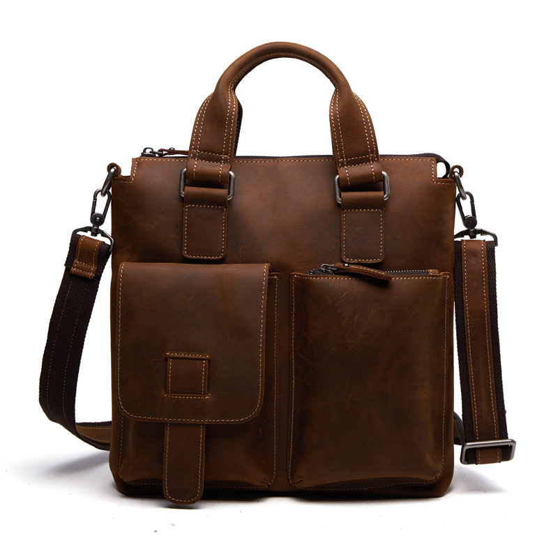 Nesitu Vintage Real Skin Crazy Horse Leather Male Bag Genuine Leather Men Messenger Bags Man Briefcase Portfolio #M259-2