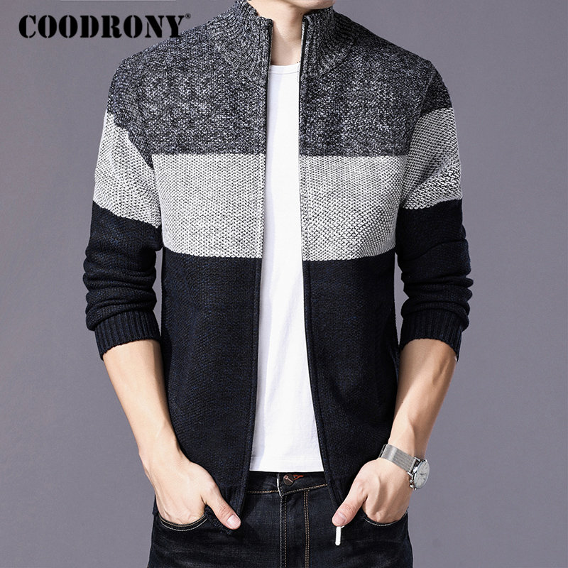 Image 2 - COODRONY Cashmere Wool Sweater Coat With Cotton Liner Zipper  Coats Sweater Men Clothes 2018 Winter Thick Warm Cardigan Men  H003Cardigans