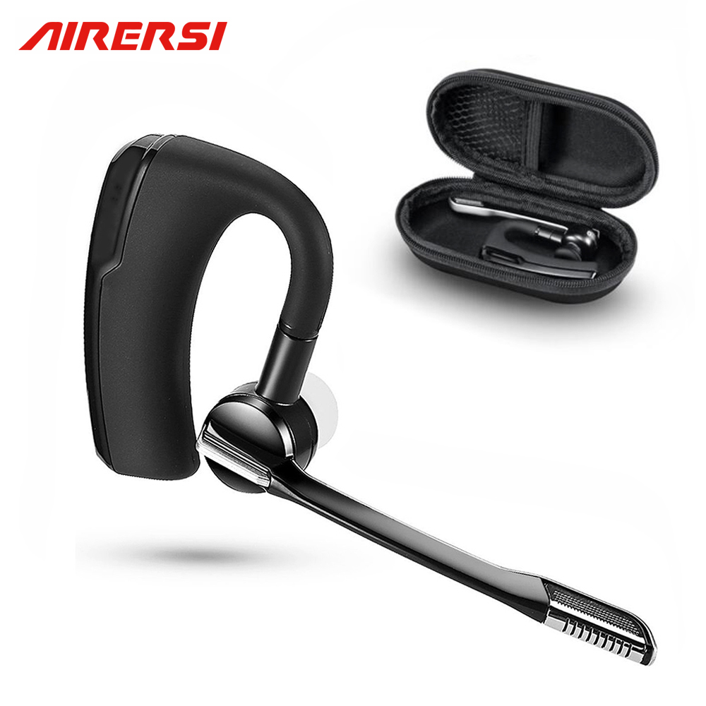AIRERSI K6 Business Bluetooth Headset smart car call Wireless Earphone with Microphone hands-free and Headphones Storage Box wireless bluetooth headset mini business headphones noise cancelling earphone hands free with microphone for iphone 7 6s samsung