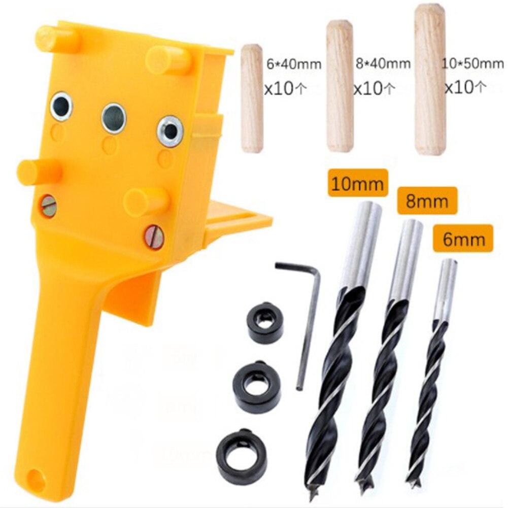 Carpintaria passador gabarito conjunto pinos passador de madeira com 6 8 10mm broca bits guia kit para marcenaria passador gabarito buraco viu ferramentas