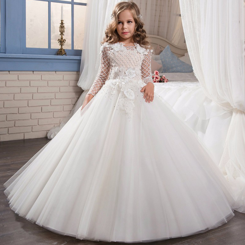 New Kids Pageant Evening Gowns birthday costum Lace Flower Girl Banquet party Dresses For Weddings Dance party beauty