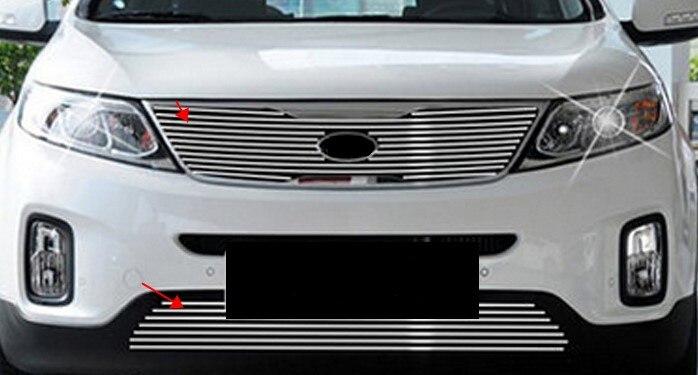 2013-2015 for kia Sorento Aluminum alloy Car front bumper Mesh Grille Around Trim Racing Grills for kia k2 high quality aircraft grade aluminum front grille around trim racing grills trim fo