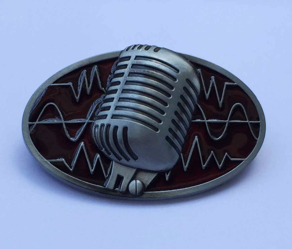 Microphone Rock Music Belt Buckle suitable for 4cm wideth belt with continous stock