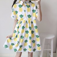 Preppy Sweet Lolita Mori Girl Cute Pineapple Printed Dress Japanese Small Fresh Women's Hight Waist Short Sleeve Dress Summer