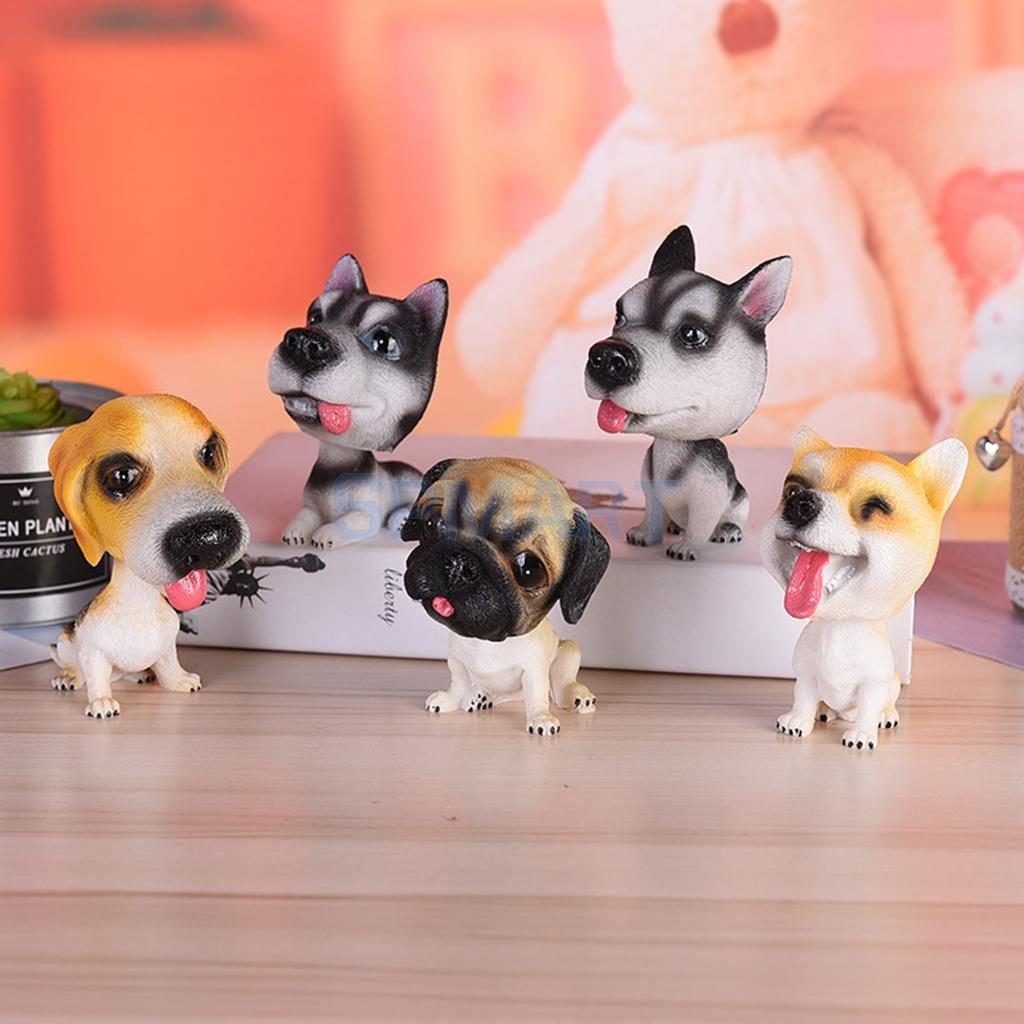 Pack of 5pcs Lovely Shaking Head Doll Bobbing Dog Nodding Puppy Model Home Car Interior Decor Ornaments Display