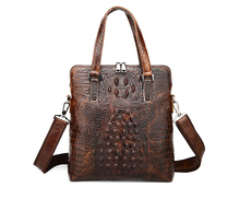 Maxdo Vintage Alligator Pattern Real Skin Genuine Leather Briefcase Portfolio Men Messenger Bags Handbags #M1231