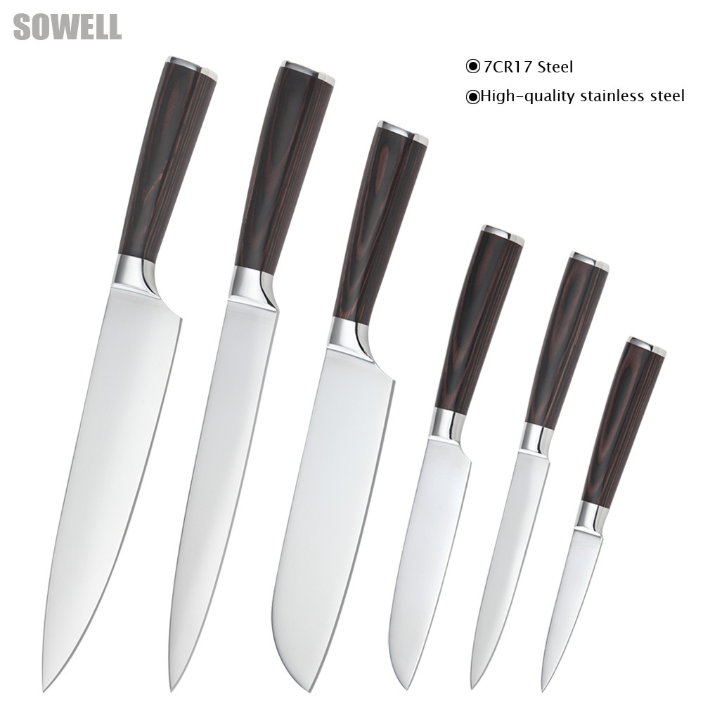 Six piece set chef slicing Japanese cook s santoku utility paring knife 7Cr17 stainless steel kitchen
