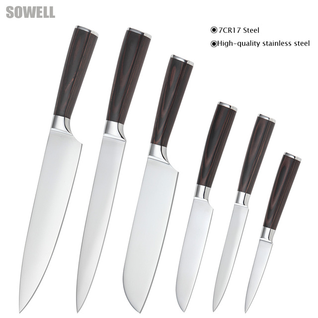 Six-piece set chef slicing Japanese cook's santoku utility paring knife 7Cr17 stainless steel kitchen knives cooking tools set