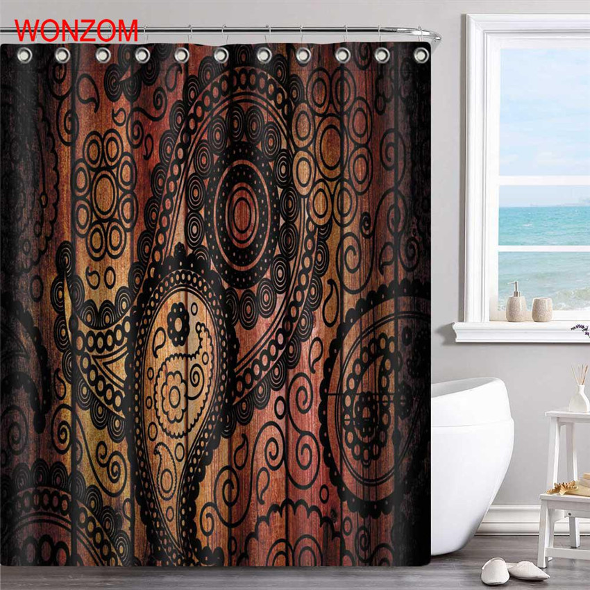 WONZOM Wood Grain Polyester Fabric Curtains With 12 Hooks For Bathroom Decor Modern Bath Waterproof Curtain Accessories In Shower From