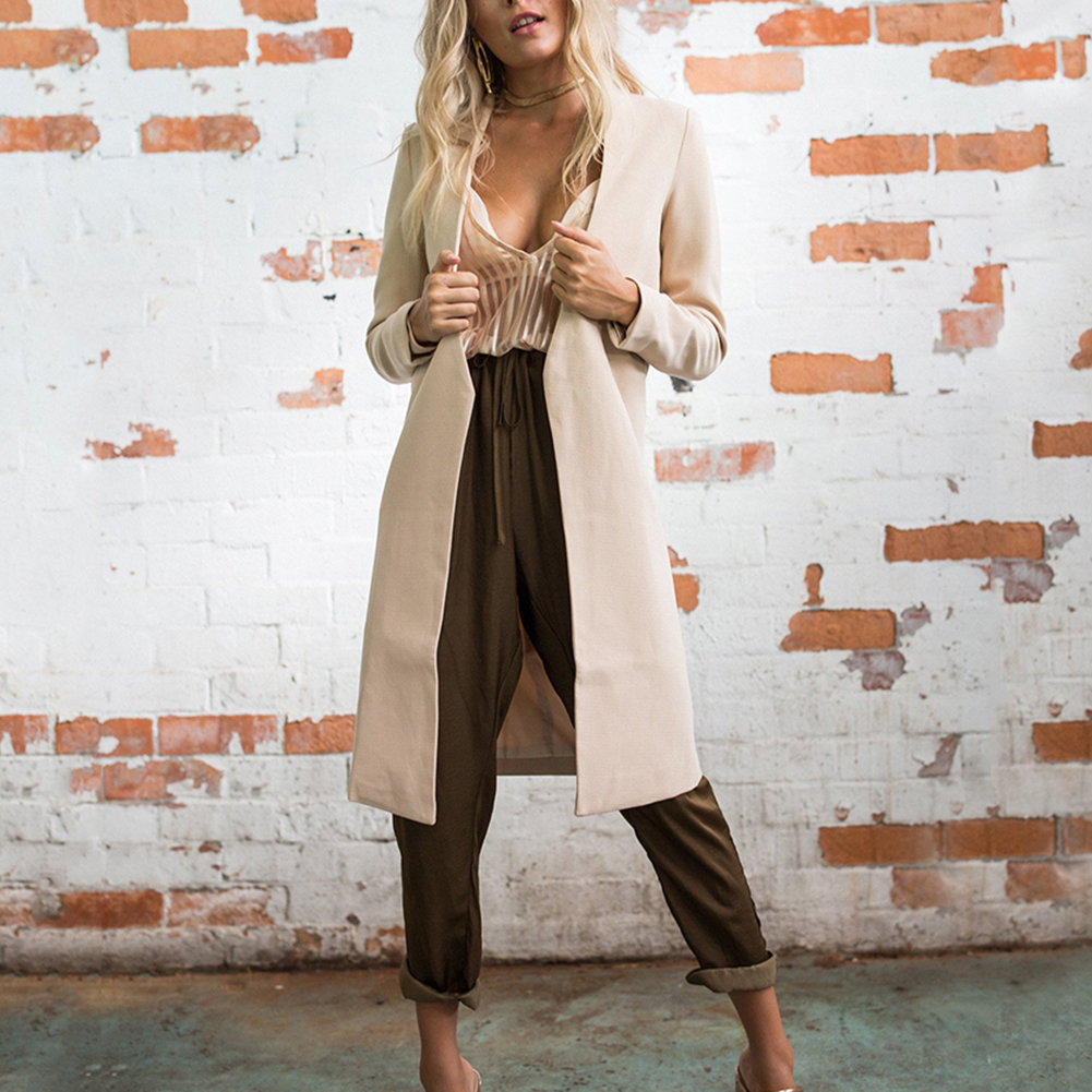 Women Autumn Winter Loose Coat Casual Overcoat Outwear Pure Color Charming