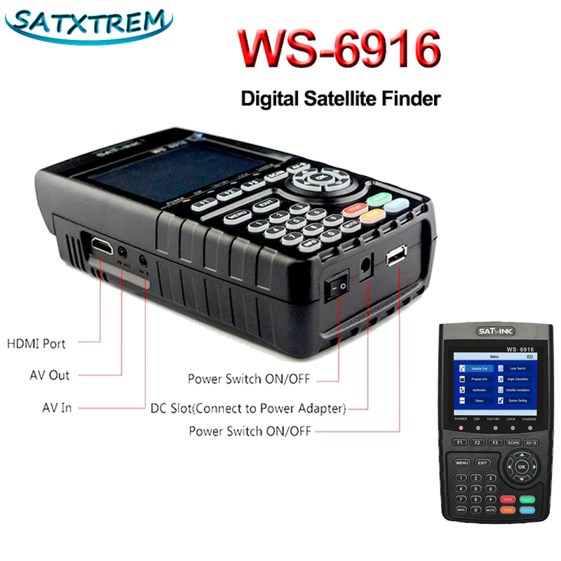 цена на Satlink WS-6916 Satellite Signal Finder DVB-S2 MPEG-2/MPEG-4 Digital Signal Finder Meter 3.5 Inch HD LCD Screen Satlink WS6916