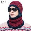 YBZ 2016 knit scarf cap neck warmer Winter Hats For Men women Caps warm Winter Beanie Fleece Knit Bonnet Hat balaclava