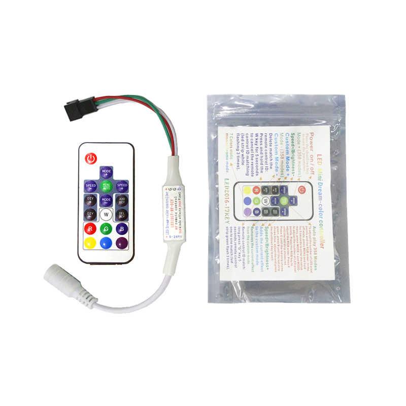 Tira LED WS2812B WS2811 controlador remoto DC 5V 12V DIY WS2812 WS2811 controlador de píxeles remoto 14KEY 17key DIY RF LED controlador