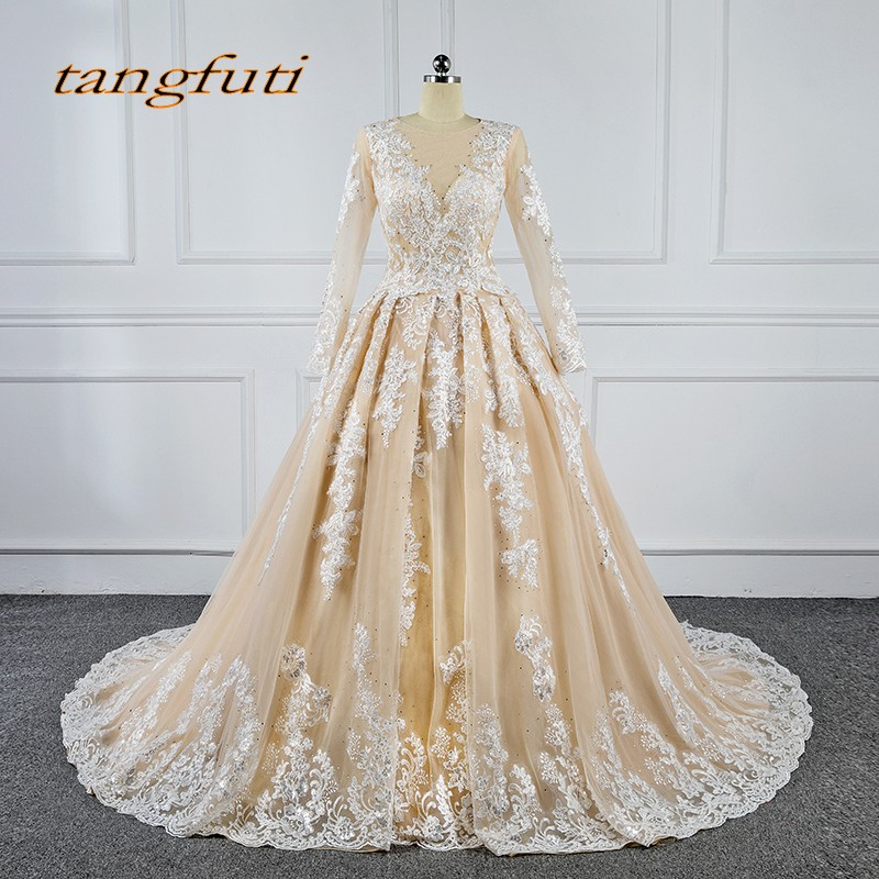 Champagne Long Sleeve Lace Evening Dresses Party A Line Arabic Dress Formal Evening Gowns Dresses robe de soiree longue 2018