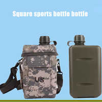 2L square US square barrel large capacity outdoor camouflage plastic water bottle army fan camping strap water bottle